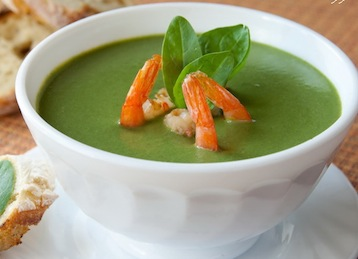 суп из шпината с креветками