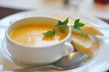 тыквенный крем суп с креветками по Дюкану