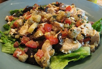 салат из баклажанов и курицей