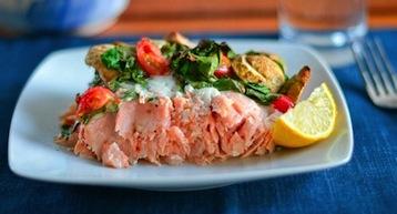 красная рыба с овощами по Дюкану
