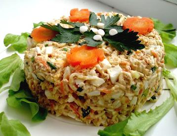 Салат из печени трески и творога