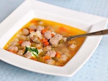 Суп овощной с говяжьими фрикадельками по дюкану