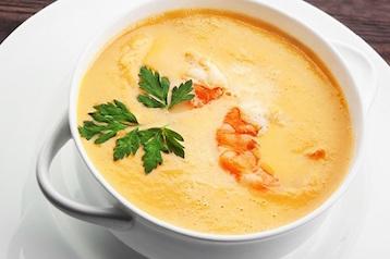 Тыквенный суп-пюре с креветками по Дюкану